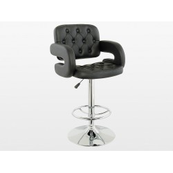 Two Adjustable & Swivel Chrome & Black Faux Leather Breakfast Bar Stool