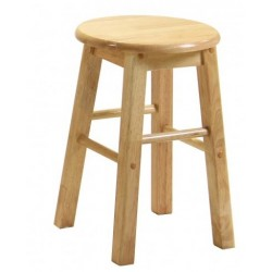 "Two 18"" Natural Pine Wooden Bar Stools"