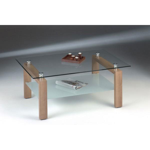 Adina Two Shelf Clear Glass Oak Coffee Table