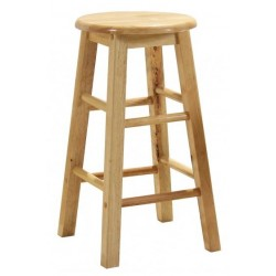 "Two 24"" Natural Solid Pine Wooden Bar Stools"