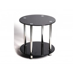 Benton Black Glass with Chrome Lamp, Side, End Table