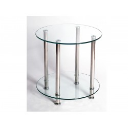 Benton Clear Glass Chrome Lamp Side End Coffee Table Display Stand