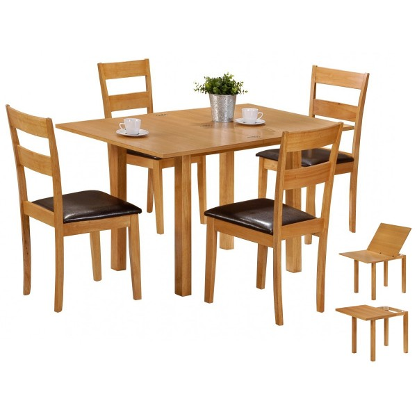 Colorado Extending Dining Table with Four Padded PU Leather Chairs