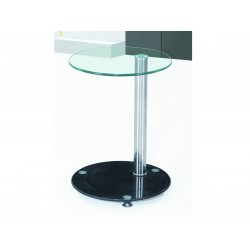 Conway Clear & Black Glass with Chrome Lamp, Side, End Table