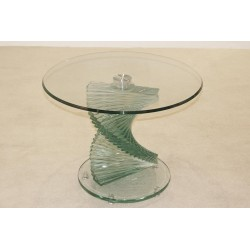 Cordoba Clear Glass Lamp, Side, End Table with Spiral Base