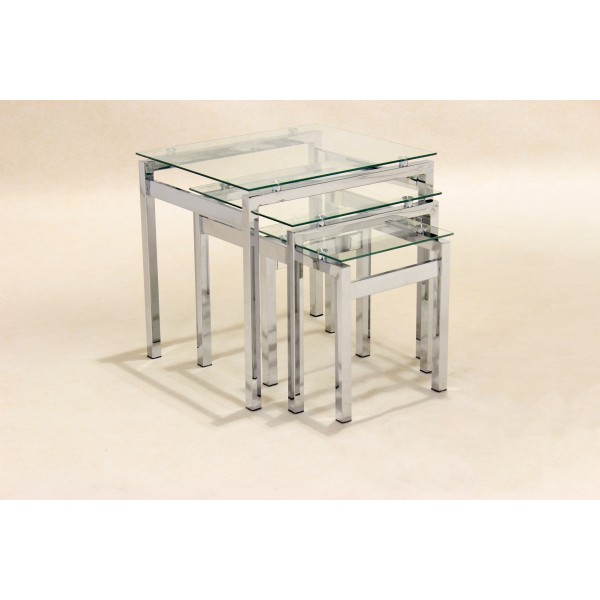 Epsom Clear Glass & Chrome Nest of Tables