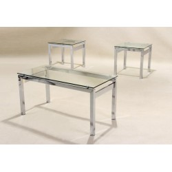 Epsom 3 Piece Clear Glass Set - Chrome Coffee & Lamp Tables