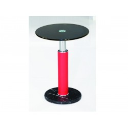 Grant Red and Black Glass with Marble Base Lamp, Side, End Table