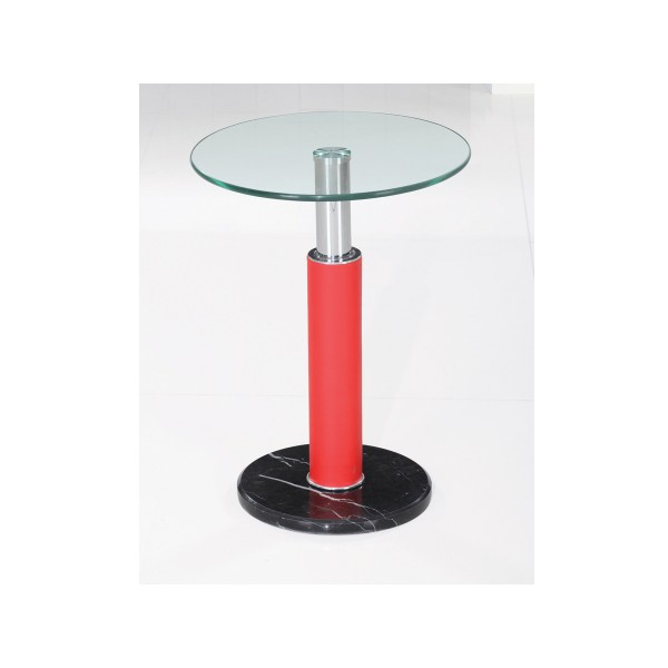 Grant Red and Clear Glass with Marble Base Lamp, Side, End Table