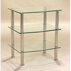 Hudson Clear Glass Three Shelf Side Table -TV, Hi-Fi,Console, Dvd Stand