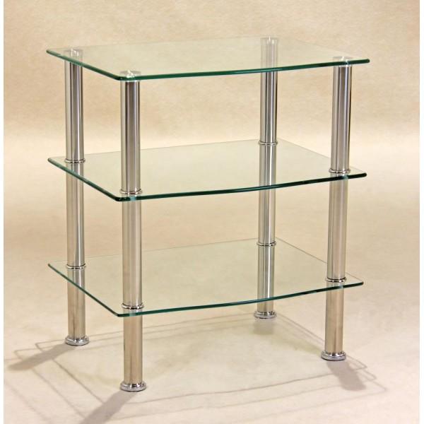 Hudson Clear Glass Three Shelf Side Table -TV, Hi-Fi,Console, Dvd Stand