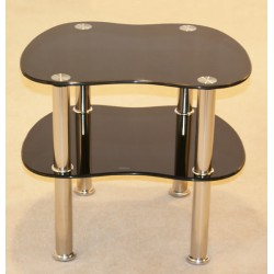 Hudson Two Shelf Black Glass Table & Stand