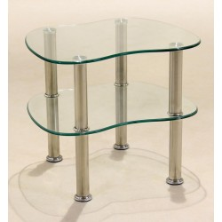 Hudson Two Shelf Clear Glass Table & Stand