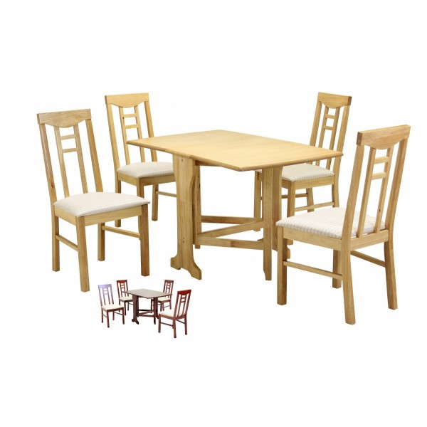 Liverpool Gateleg Drop Leaf Dining Table with Four Chairs  - Natural Finish