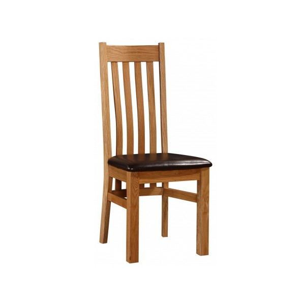 Louisa Solid Oak Traditional Wooden Dining Chairs - Pack of Two