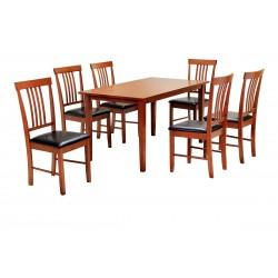 Massa Large Dining Table with Six Chairs - Mahogany Finish
