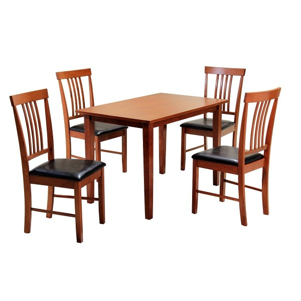 Massa Dining Table Set with Four Chairs - Mahogany Finish