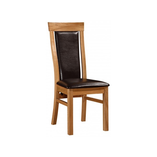 Matise Solid Oak Dining Chairs Brown Leather Natural Finish - Pack of Two