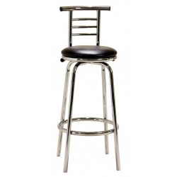 Two Chrome Narrow Back Breakfast Bar Stools with Swivel PVC Seat