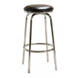 Two Chrome No Back Breakfast Bar Stools with Swivel PVC Seat