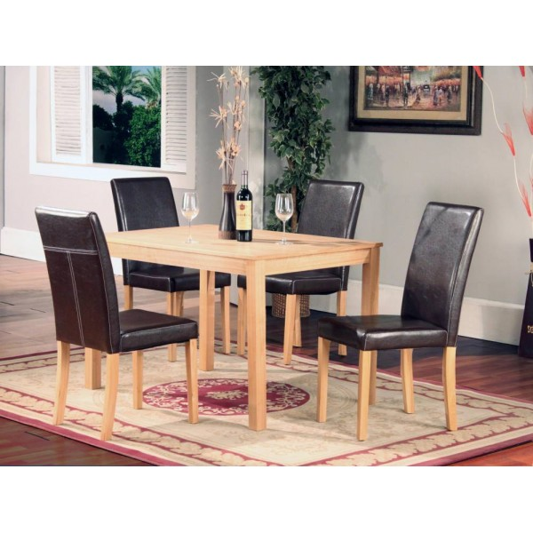 Ashdale Solid Ash Dining Table with Four Leather Chairs