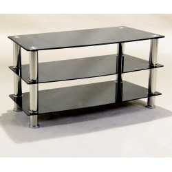 Three Shelf Black Glass TV Stand - ,Hi-Fi,Console, DVD Unit