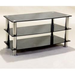 Three Shelf Black Glass TV Stand - ,Hi-Fi,Console, DVD Unit