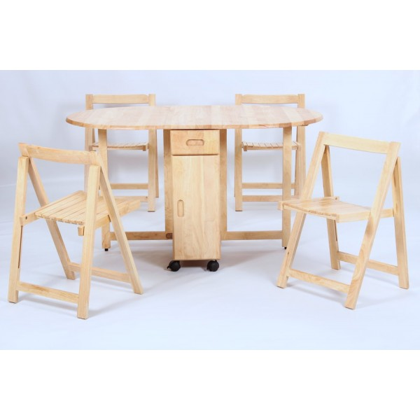 Butterfly Drop Leaf Dining Table with Four Chairs - Natural finish