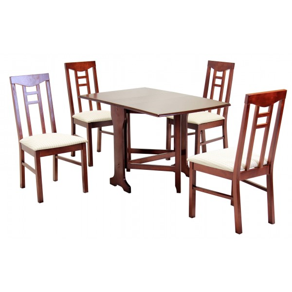 Liverpool Gateleg Drop Leaf Dining Table with Four Chairs  - Mahogany Finish