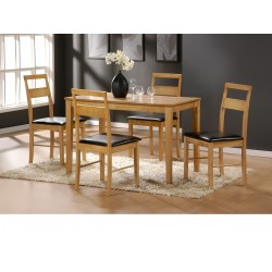 Rufina Solid Rubberwood Dining Table with Four Chairs