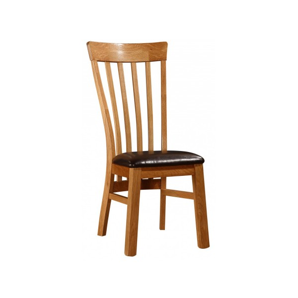 Rutland Solid Oak Traditional Wooden Dining Chairs Natural Finish - Pack of Two