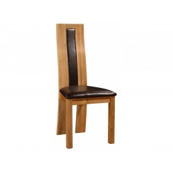 Shirley Solid Oak Dining Chairs with Brown Leather Seat Pad Natural Finish - Pack of Two