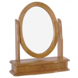 Skagen Antique Pine Vanity Mirror Round with Drawer
