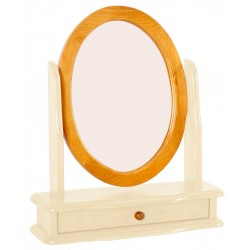 Skagen Pine Vanity Mirror Round with Drawer - Cream Finish