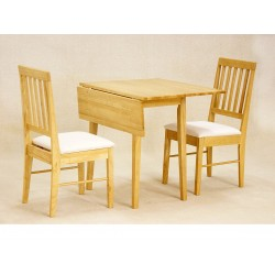Swiss Drop Leaf Dining Table with Two Chairs - Oak Finish