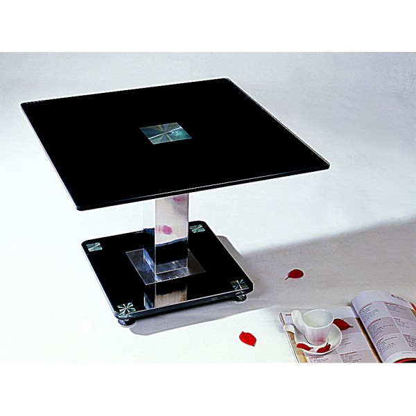 Trinity Black Glass & Chrome Lamp Side End Table