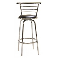 Two Chrome Wide Back Breakfast Bar Stools with Swivel PVC Seat