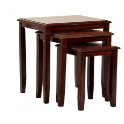Kingfisher Solid Rubberwood Mahogany Nest of Tables