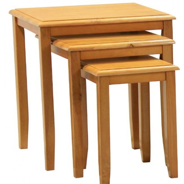 Kingfisher Solid Rubberwood Maple Nest of Tables