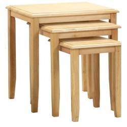 Kingfisher Solid Rubberwood Natural Beech Nest of Tables