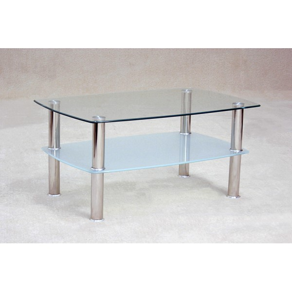 Togo Two Shelf Clear Glass Coffee Table