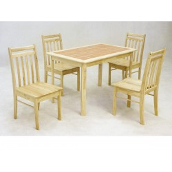 Tiletop Solid Rubberwood Dining Table with Four Chairs - Natural Finish