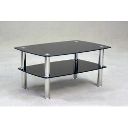 Togo Two Shelf Black Glass Coffee Table
