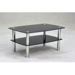 Togo Two Shelf Black Glass Coffee Table