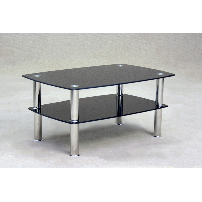 Tanquin Black Glass And Gold Coffee Table: Togo Two Shelf Black Glass Coffee Table